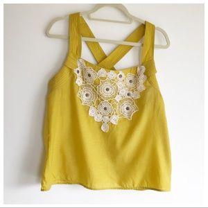 Anthro Yellow Crochet Top